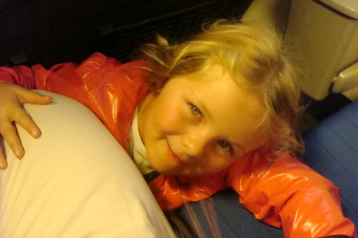 Amelie riding the train
